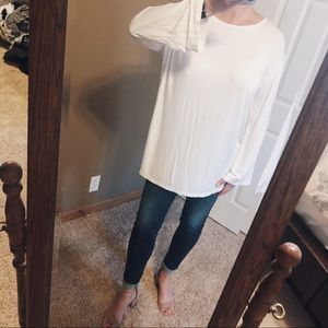 WHITE PIKO Brand Wide Long Sleeve Top